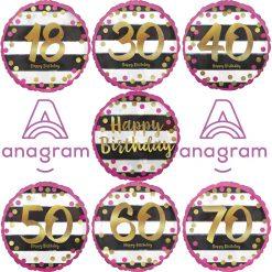 """Happy Birthday Folienballon Pink Gold Meilenstein Konfetti Party Zahl 18 30 40 50 60 70 Geburtstag 45cm /18"""", Selbstschließendes Ventil, Luft & Ballongas"""
